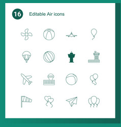 16 air icons vector