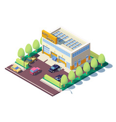 3d isometric modern car auto service with parking vector image