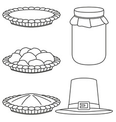 4 line art black and white fall harvest elements vector