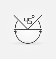 45 degrees concept icon in thin line style vector