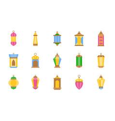 Arab lamp or ramadan lantern flat icon vector