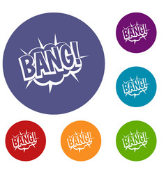 Bang speech bubble explosion icons set vector