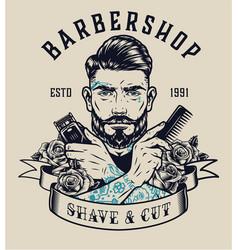 Barbershop vintage print vector