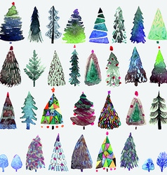Big collection of watercolor Christmas tree vector image