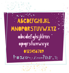 Bold handwritten colorful font typographic set vector