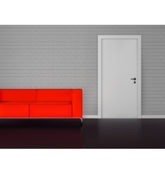 Brick wall with white door and red sofa vector