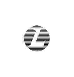 Capital letter l logo on the striped circle shape vector