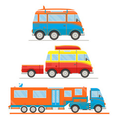 Cartoon transport set van with surfboard van vector