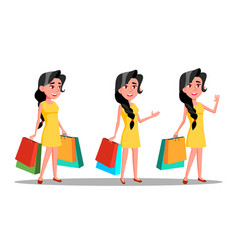character young woman shopaholic with bag vector image