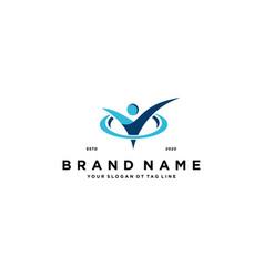 Checklist people logo design vector