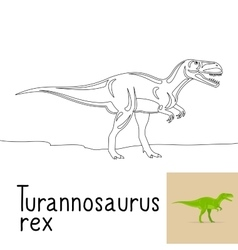 Coloring page with tyrannosaurus rex vector