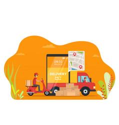 Concept online service delivery goods truck vector