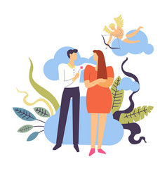 Couple falling in love and courtship concept vector