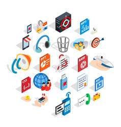creating advertising icons set isometric style vector image