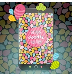 Cute doodle drops pattern on smart phone vector image