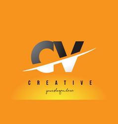 Cv c v letter modern logo design with yellow vector