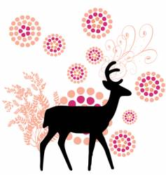deer with floral vector image