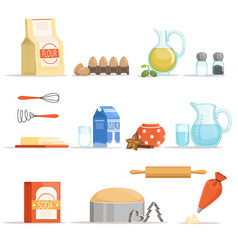 Different food ingredients for baking and cooking vector
