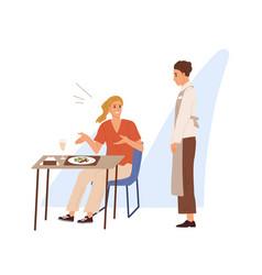 displeased restaurant or cafe visitor shout vector image