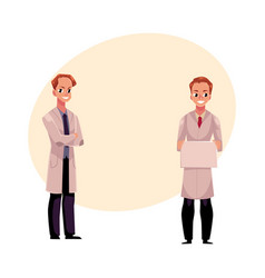 doctors in medical coats holding blank sign with vector image