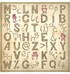 doodle alphabet design on grunge background vector image