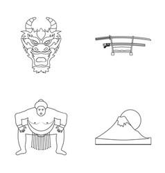 Dragon mask katano a man is a sumo player a vector