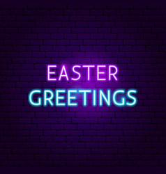 Easter greetings neon sign vector