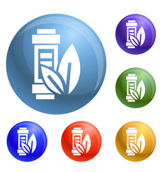 eco battery leaf icons set vector image