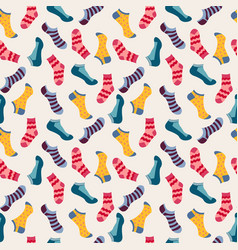 fashion seamless pattern with colored socks vector image