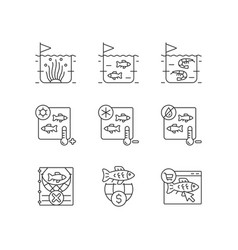 Fish product farming and storing linear icons set vector