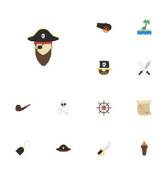 Flat icons cranium corsair pirate hat and other vector