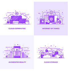 Flat line purple designed concepts 12 vector