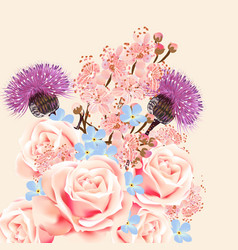 floral background with flowers and roses vector image