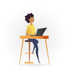 freelancer woman working by computer on table vector image