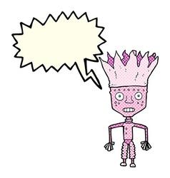 Funny cartoon robot wearing crown with speech vector