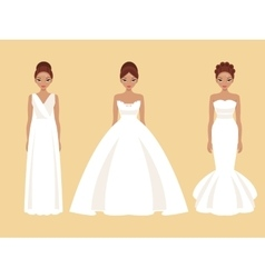 Girl in different wedding dresses vector image