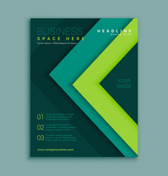 Green geometric flyer poster design template vector