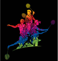 Group badminton player action cartoon graphic vector