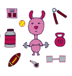 Hand-drawn lama the athlete with a bar and sports vector