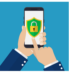 hand holding smartphone with mobile security vector image