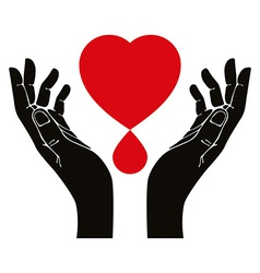 Hand with heart and blood drop symbol vector