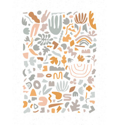 handmade geometric abstract shapes grey and orange vector image