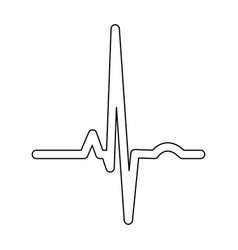 heart rhythm ekg black color path icon vector image