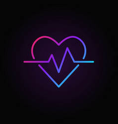 Heartbeat colored icon heart rate outline vector