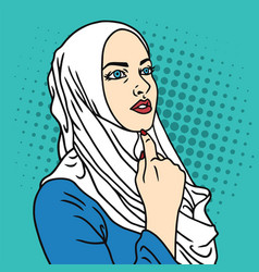 Hijab muslim woman pop art comics style vector