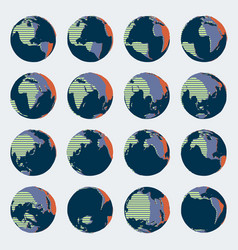 huge set comic style globe with bright colors vector image