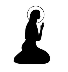 Icon with praying virgin mary hand drawn outline vector
