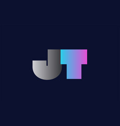 initial alphabet letter jt j t logo company icon vector image