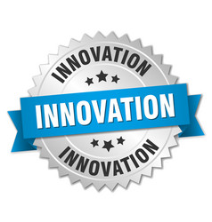 Innovation 3d silver badge with blue ribbon vector