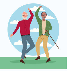International older persons day with old men vector